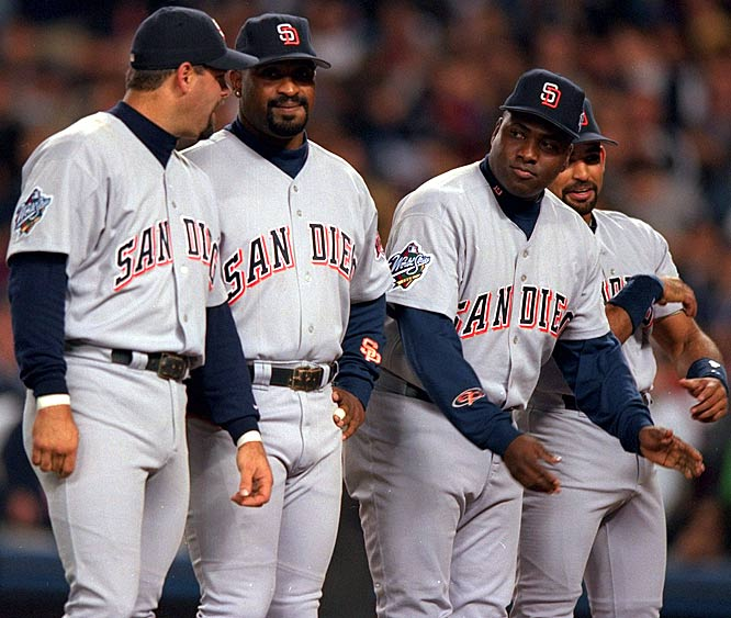 After watching the Giants go worst-to-first in their division the year before, the Padres added Kevin Brown to an already strong pitching rotation. Brown went 18-7 in '98 and posted a 2.38 ERA. Runs were never at a premium in a lineup with Tony Gwynn, Ken Caminiti, Greg Vaughn and Steve Finley, and the Padres ran away in the West, winning the division by 9.5 games.