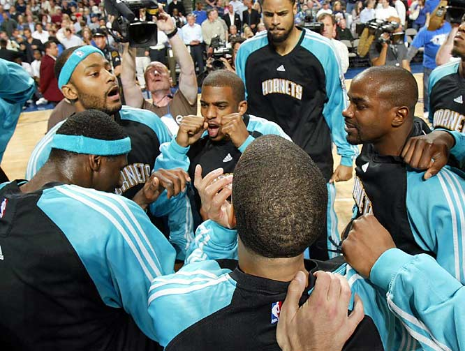 The Hornets met Dirk Nowitzki and the Mavericks in the first round of the playoffs. In his first ever playoff game, Paul notched a double-double, with 35 points and 10 assists. He added another 32 points and a franchise playoff-record 17 assists in Game 2, as the Hornets built a 2-0 lead. New Orleans went on to a 4-1 series win.