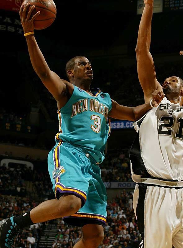 Paul and the Hornets drew Tim Duncan and the Spurs in the conference semis in '08. Paul posted double-doubles in four of the seven games, including Game 7, where he added 18 points, 14 assists and five steals. San Antonio edged New Orleans in the deciding game, though, 91-82.