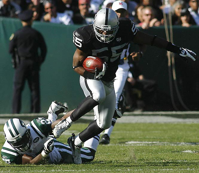 Tied with the Jets midway through the fourth quarter, new Raiders coach Tom Cable called a fake punt from his own 27. Jon Alston took the direct snap 22 yards for a first down. The Raiders later took the lead en route to winning in overtime.