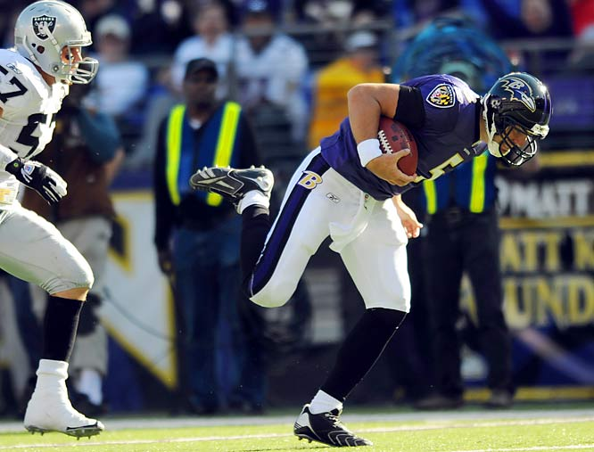 With backup signal caller Troy Smith next to him in the backfield, quarterback Joe Flacco (pictured) took the snap, handed off to Smith and ran a wheel route for a 43-yard completion, setting up a field goal in the Ravens' 29-10 win over Oakland. Flacco's catch might actually have gone for a touchdown if he hadn't stumbled after making his first reception since high school.