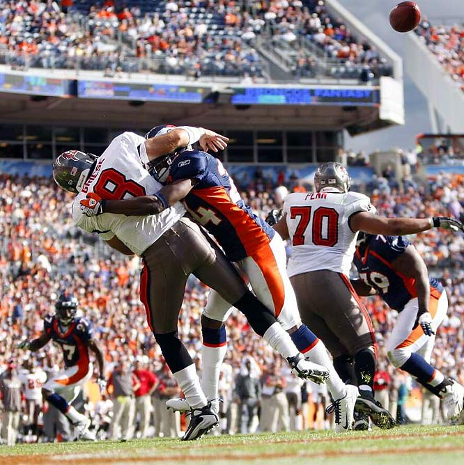 Tampa Bay's quarterback was knocked out of the game with a swollen right elbow on a blind-side blitz by Broncos cornerback Champ Bailey in the third quarter. Denver went on to nail down a 16-13 win over the Buccaneers.