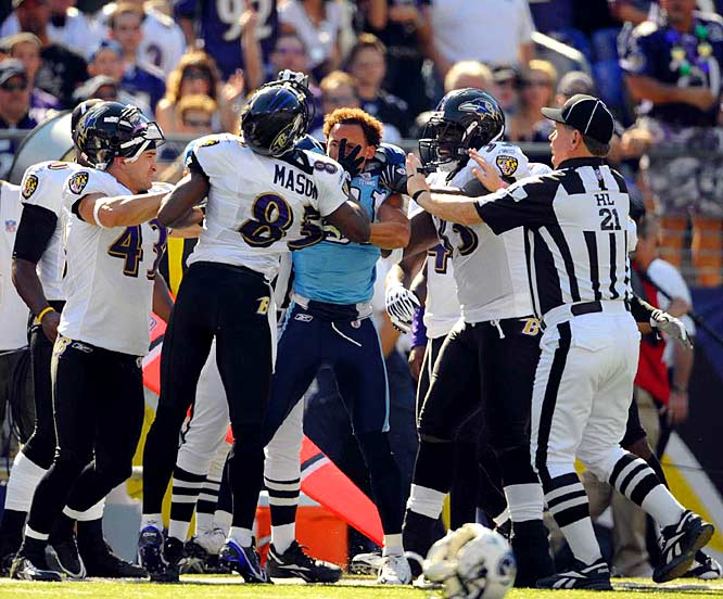 Ravens wideout Derrick Mason and Titans cornerback Cortland Finnegan (helmet off) received offsetting personal fouls during a 13-10 Tennessee win. The teams combined for 21 penalties for 169 yards, and six involved unnecessary roughness or unsportsmanlike conduct.