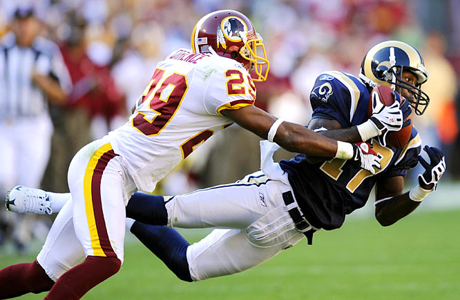 Donnie Avery catches a 43-yard pass down the right sideline on third-and-13 to move the Rams into field goal territory late in the game.  Despite a 15-yard penalty against St. Louis soon thereafter, Josh Brown kicked a 49-yard field goal with no time left to top the Redskins 19-17.