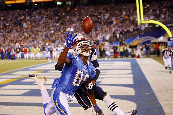 A pass intended for Chargers wideout Malcom Floyd is broken up by Patriots cornerback Deltha O'Neal.