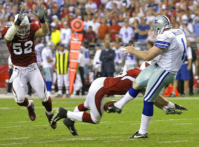 Sean Morey blocks Mat McBriar's punt, leading to Monty Beisel (52) scooping up the ball and scoring from three yards to give the Cardinals a wild 30-24 victory over the Cowboys.  It was the first time in NFL history that a blocked punt for a touchdown ended a game.