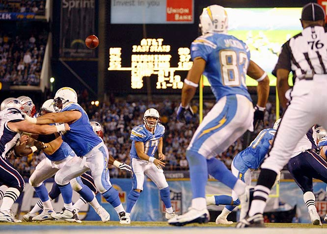 Philip Rivers throws a touchdown pass to Vincent Jackson late in the first half.  Jackson caught five passes for 134 yards in the Chargers 30-10 win over the Patriots.