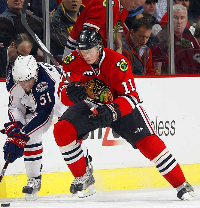 The seventh overall pick in 2005 struggled in his brief call-up to the Hawks last season, but displayed his power forward potential with 16 goals and 50 points in 59 games with Rockford of the AHL. He made the case for a full-time promotion with a solid training camp, catching the attention of coach Denis Savard with his speed and willingness to bang along the boards.