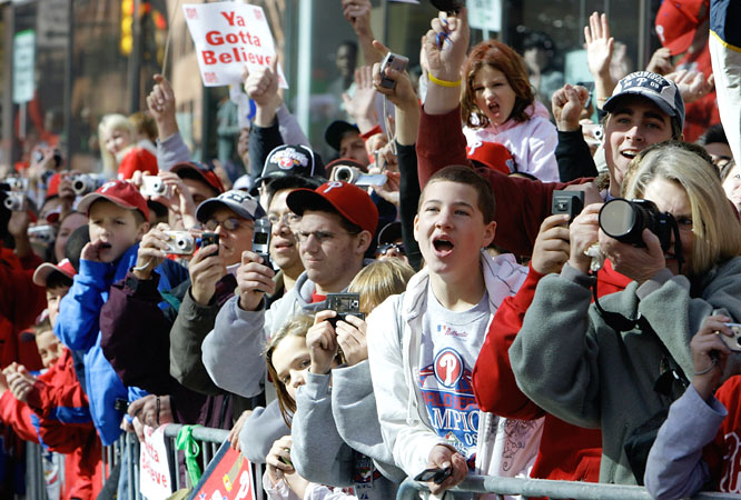 The parade started in Center City, passed City Hall and traveled four miles south to the Phillies' home field, Citizens Bank Park.