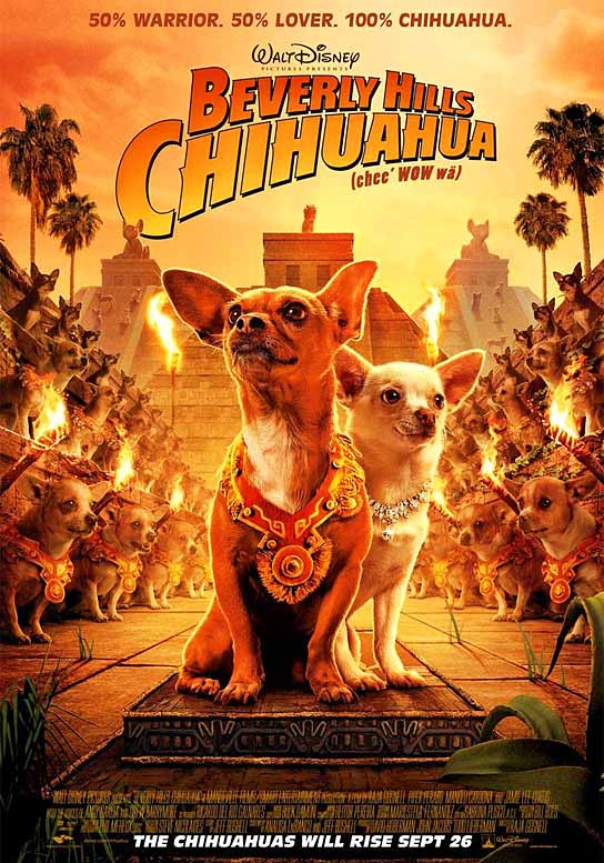 "I'm not sure what it says about us as a country when a movie like this, about a pampered chihuahua forced to fend for herself on Mexico's mean streets, tops the box office for a second week in a row. Although it is funny to see Russell Crowe and Leonardo DiCaprio, who starred in the Ridley Scott-directed spy thriller ""Body of Lies,"" open up in third place, looking up to a movie that has the tag line: ""50% Warrior. 50% Lover. 100% Chihuahua."""