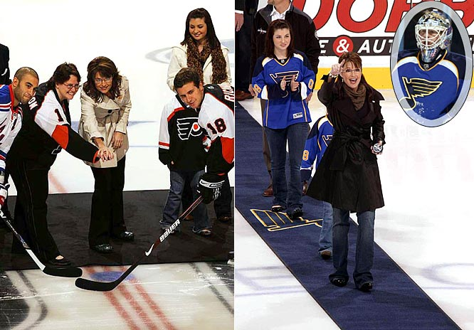 "Is it too early to enter ""The Palin Curse"" into the sports lexicon? After vice presidential candidate Sarah Palin visited Philadelphia and dropped the first puck at a Flyers game, the Flyers have lost six straight. Then, after Palin dropped the first puck at the Blues-Kings game in St. Louis, Blues goalie Manny Legace tripped over the red carpet that had been set out for her and was forced to leave the game with a strained left hip flexor.  The Blues would lose to the Kings 4-0. No wonder McCain aides reportedly tried to distance themselves from Palin this weekend."