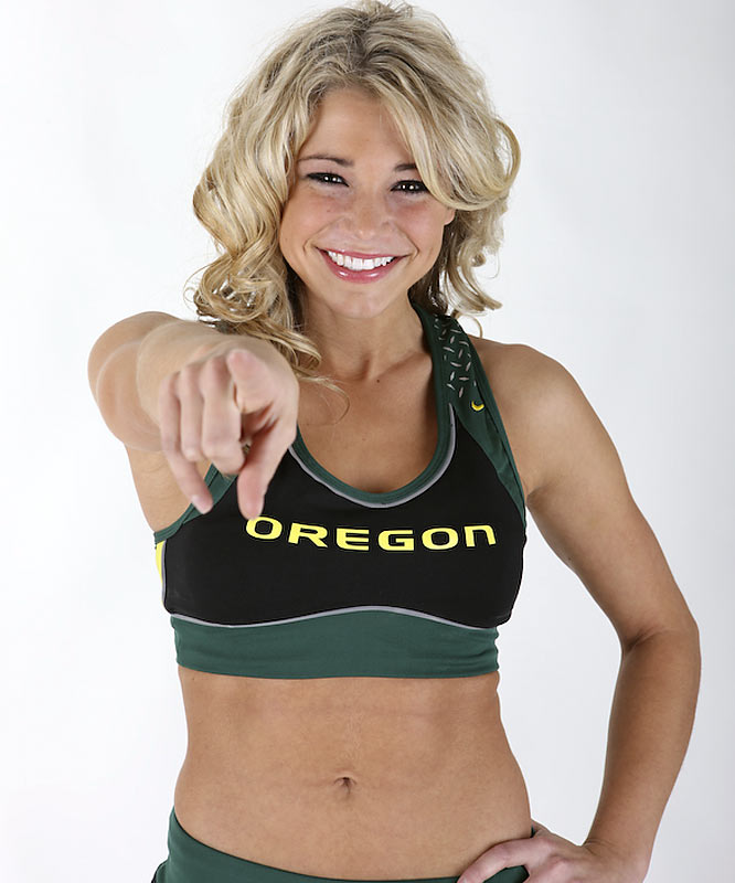 Meet Amanda, an Oregon junior and proud Duck cheerleading squad member. When Amanda's not eating cake batter ice cream from Cold Stone, she's playing with her dog, Griz, watching 'The Notebook' or wishing she had a photographic memory. Want to find out more? Click on the 20 Questions link below.