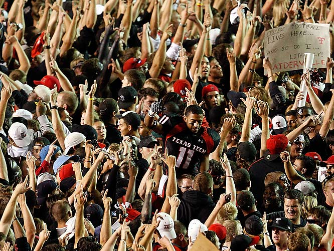 Texas Tech's game against then No. 1 Texas was the biggest game Lubbock had ever seen, and these fans reacted accordingly when the Red Raiders won on a last-second touchdown.