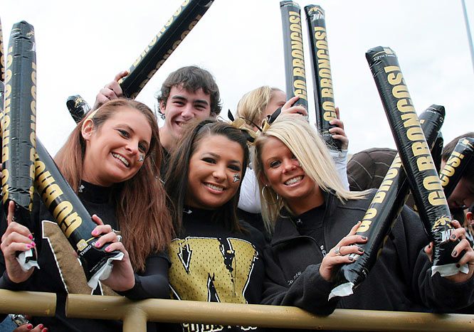These Western Michigan fans were well equipped with Broncos-themed thunder sticks to help show their support.