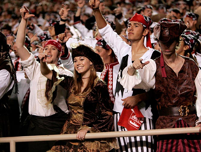 These Texas Tech fans are just as enthusiastic as the Joker look-alikes, but severely less creepy.