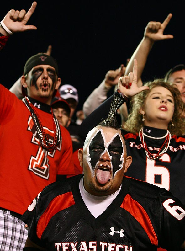 This Texas Tech fan must be doing his best Brandon Carter impression.