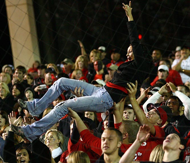 If Texas Tech fans crowd-surf after every score, they must have impressively large biceps.