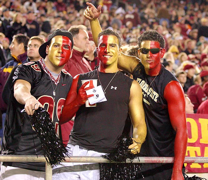 """These Florida State fans look festive, but shouldn't body and face paint be black on """"Blackout"""" night?"""