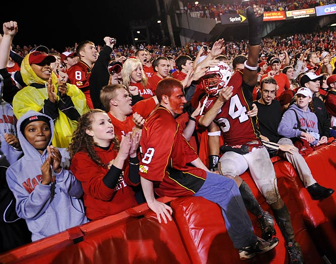 Terps fans got to celebrate with Maryland linebacker Adrian Moten (54) after the team's 17-15 victory over North Carolina.