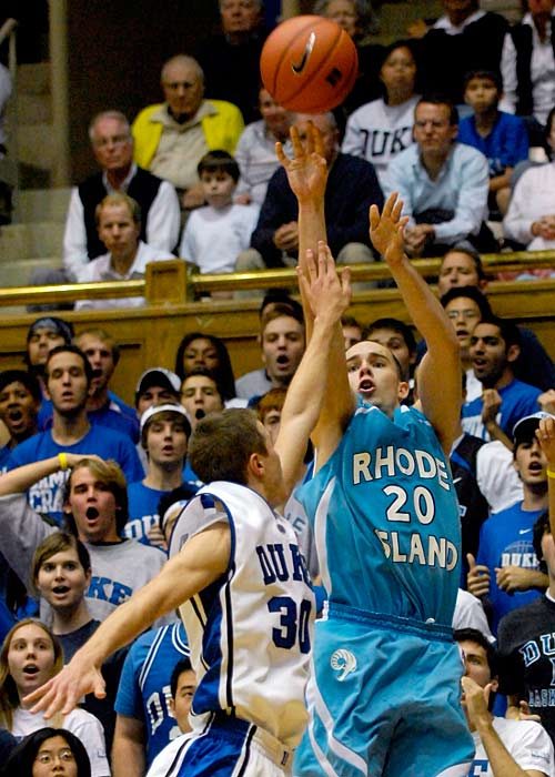 Jimmy Baron ( pictured) lit up the Blue Devils, going 8-for-10 from the three-point line.  It took last-minute free throws from Kyle Singler, who had 21 points, for Duke to escape.