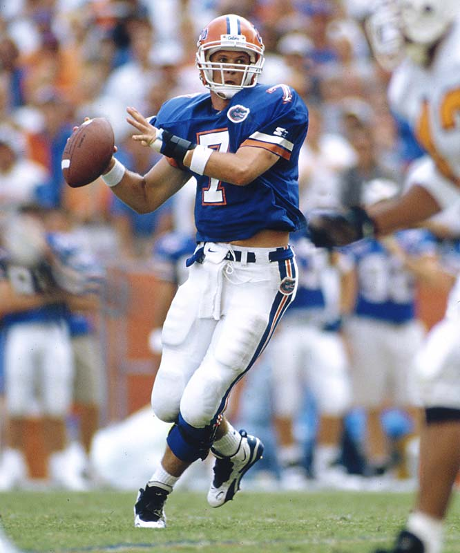 The 62nd Heisman winner led the Gators to four SEC titles and the 1996 national championship. He finished  his career with 114 touchdown passes, the second-highest in major college history, and with a passer efficiency rating of 163.56, the best in history.