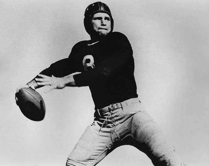 The 1938 Heisman winner led the Horned Frogs to an undefeated record his senior season, throwing for 1,733 yards and 19 touchdowns.