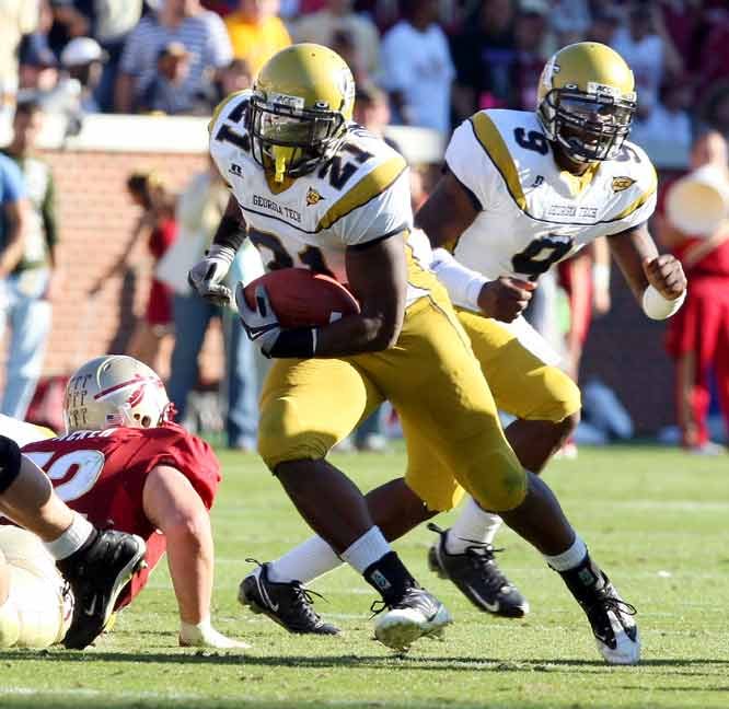 Jonathan Dwyer (left) ran for 145 yards and two touchdown as Georgia Tech beat Florida State for the first time since 1975. Marcus Sims fumbled in the end zone in the final minute to end any hope of a Florida State comeback.
