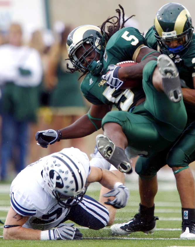 Dennis Pitta caught two fourth quarter touchdowns, including a 17-yarder with 22 seconds remaining for BYU. It was the second straight week BYU came back in the fourth quarter to win the game. Gartrell Johnson (left) ran for 102 tough yards and a score for Colorado State.