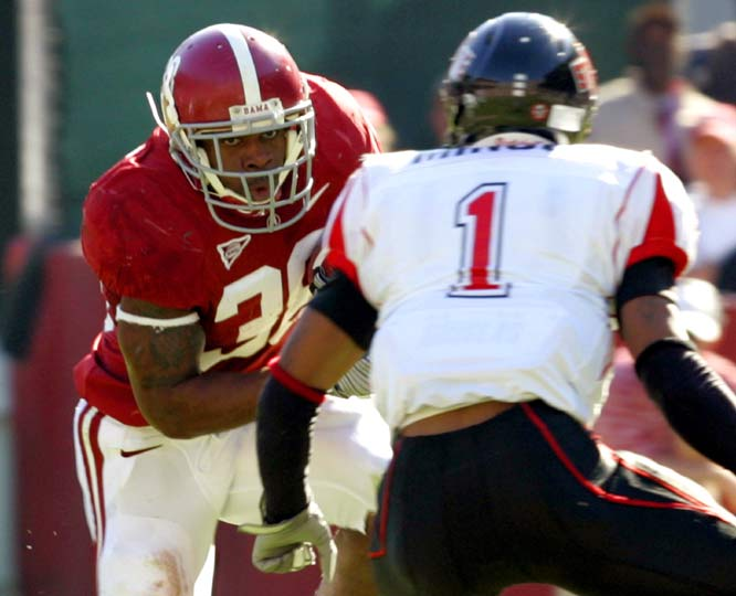 Freshman Mark Ingram ran for 113 yards and two touchdowns, and Glen Coffee (left) rumbled for 56 yards and a score as the Crimson Tide rolled their record to 9-0.