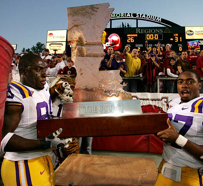 Arkansas Razorbacks vs. LSU Tigers    Trophy introduced in 1996.