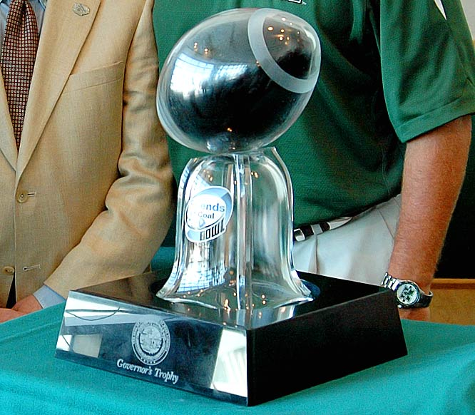 West Virginia Mountaineers vs.   Marshall Thundering Herd   Trophy introduced in 2006.