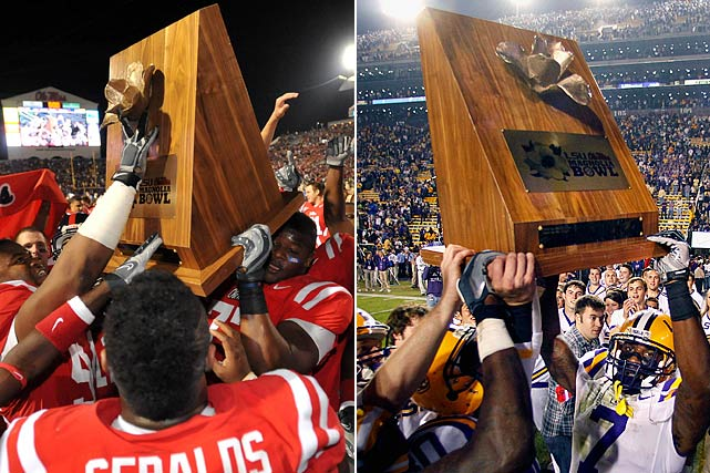 Ole Miss Rebels vs. LSU Tigers    Trophy introduced in 2008.