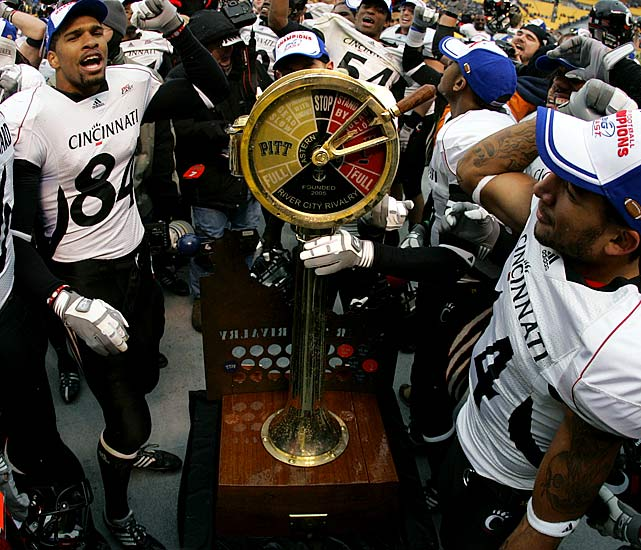 Pittsburgh Panthers vs. Cincinnati Bearcats    Trophy introduced in 2005.