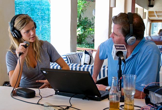 Dan Patrick interviewed Brooklyn Decker on the set of a Sports Illustrated Swimsuit shoot.
