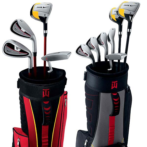 Inspired by the clubs Earl Woods made for Tiger when he was young, Nike has two new box sets that are sure to get youngsters excited about the game. Features include square-headed drivers, graphite-shafted irons, milled putters, nylon bags, balls, and grips scaled down to fit comfortably in little hands. The Red set, for ages 5-7, includes a driver, 5-iron, pitching wedge and putter. The Black set, for ages 8-11, has those clubs plus a hybrid, 7-iron, 9-iron and sand wedge instead of the pitching wedge.