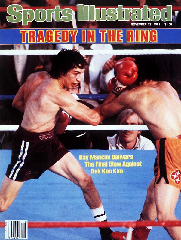 "Korean boxer Duk Koo Kim is knocked out in the 14th round by Ray ""Boom Boom"" Mancini. Four days later, Kim died due to head injuries suffered during in the fight."