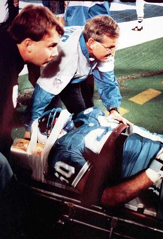 Detroit Lion Mike Utley is paralyzed in a game against the Los Angeles Rams. Though the injury ended his career, it prompted Utley to start the Mike Utley Foundation, a foundation created in 1991 to help seek a cure for paralysis.