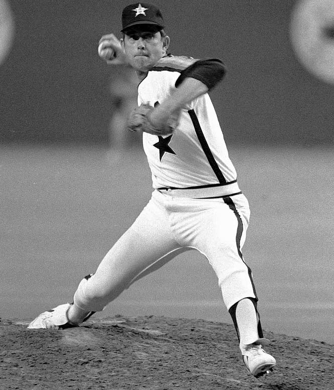Former Angel Nolan Ryan becomes the first free agent to sign a million-dollar-per-year contract with a new team as the Astros lock him up with a four-year, $4.5 million deal.