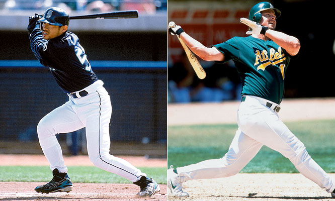 A year after winning the 2000 AL MVP, Oakland first baseman Jason Giambi smacked 38 home runs, racked up 120 RBIs and hit .342. Despite the gaudy stats, Giambi was beaten out for the award by Mariners rookie Ichiro Suzuki by eight points. Ichiro batted .350 with eight home runs, 69 RBI, 53 steals and 127 runs scored for Seattle, which tied the major league record with 116 wins.