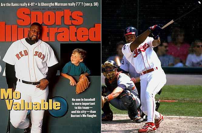 Boston's Mo Vaughn tied for the league lead in RBIs in 1995 with 126. He also hit 39 home runs, batted .300 and stole a career-high 11 bases for the AL East champion Red Sox. He edged the Indians' Albert Belle in the MVP race by eight points, even though Belle led the league in slugging, total bases, doubles and home runs and finished tied with Vaughn in RBIs, while leading the Indians to the best record in baseball.