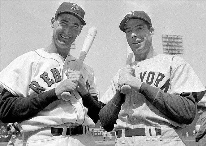 "In perhaps the most interesting MVP race ever, Joe DiMaggio beat Ted Williams by one point for AL MVP despite the fact that Williams won the Triple Crown. Williams' numbers -- .343, 32 home runs and 125 RBIs -- were far better than those of the ""Yankee Clipper,"" who batted .315 with 20 home runs and 97 RBI for the pennant-winning Yankees. A writer left Williams off his ballot entirely, reportedly because of a disagreement between the two, costing the Splendid Splinter his second straight MVP award."