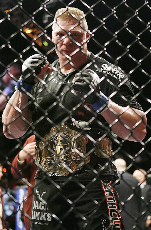 The freshly crowned UFC heavyweight champ wasted no time in seeking his next foe. At the post-fight press conference, Lesnar called for a rematch with Frank Mir -- the man who handed Lesnar his only loss.