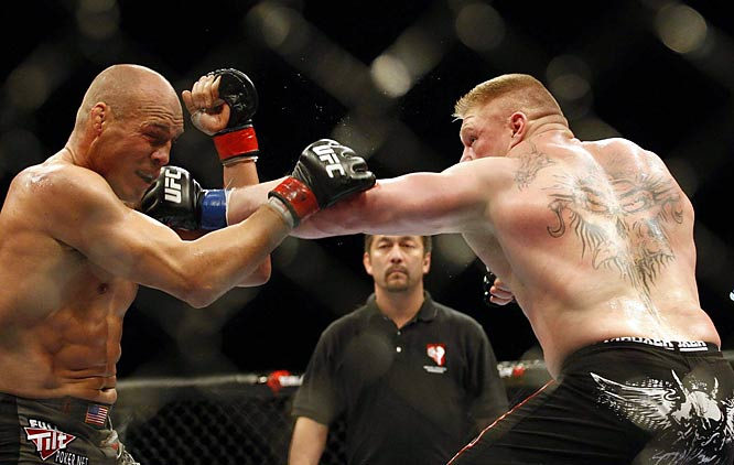 "As the younger and bigger Lesnar took shots on Couture, ""The Natural"" looked his age: 45."