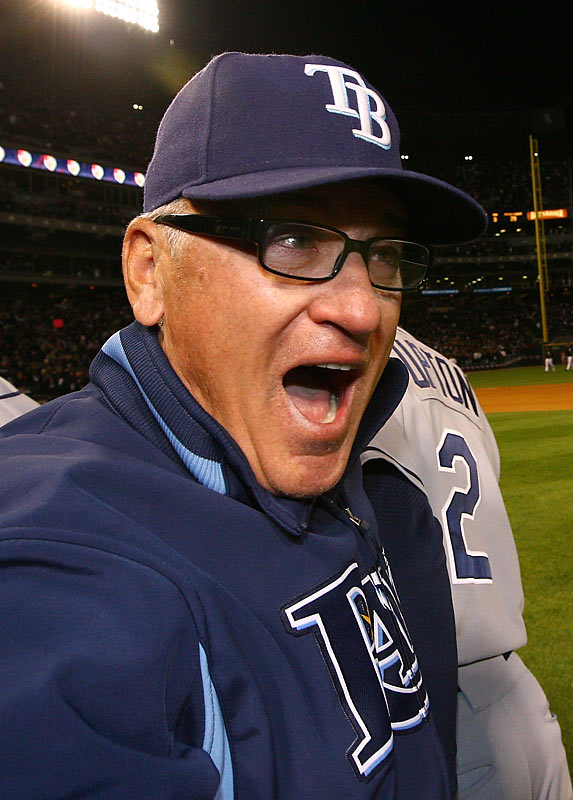 "Nominated by Jon Heyman<br><br>""The team formerly known as the Devil Rays had never before won more than 70 games. But this year it won 97 and the American League pennant. Joe the Manager's Rays, who had won a league-worst 66 games in 2007, became the unlikeliest World Series entrants since the Amazin' '69 Mets, maybe ever. Along the way Maddon won the admiration of everyone he came into contact with, impressing management, media, players and fans alike."""