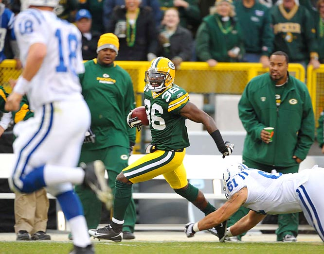 The Packers' Nick Collins is tied with his teammate, Charles Woodson, for the league lead in picks with five, and he's returned three of them for scores. His longest was 62-yards in Week 7 against Peyton Manning.