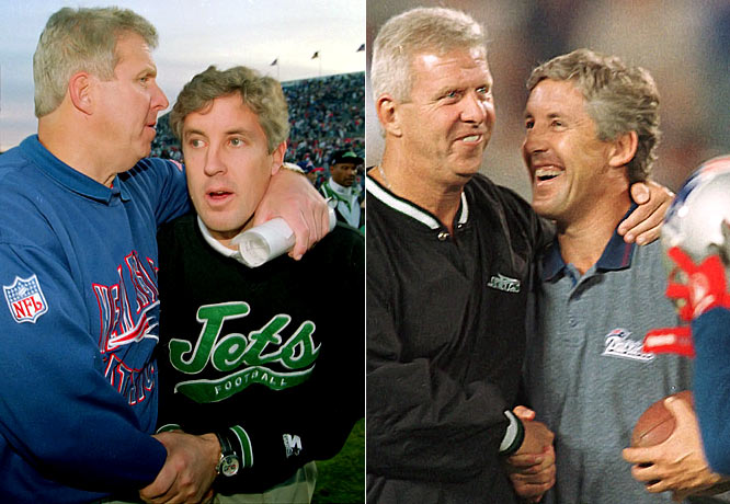 After Bill Parcells left the Patriots for the Jets, New England hired Pete Carroll as its new coach. Carroll had spent one season coaching the Jets (1994), where he got off to a 6-4 start, but lost his last six games to finish 6-10. In three seasons coaching the Patriots, Carroll went 27-21 with two playoff appearances.