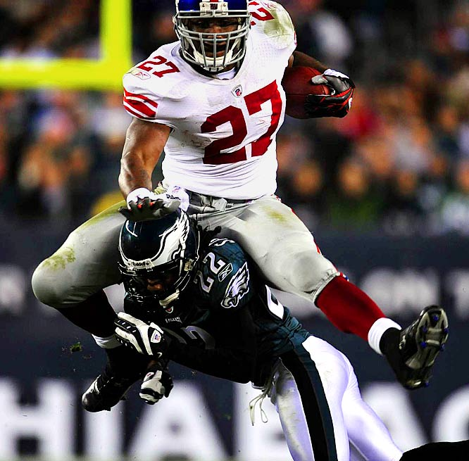 Jacobs rushed 22 times for 126 yards and two touchdowns as the Giants downed the Eagles 36-31. Jacobs did, however, lose a fumble while trying to hurdle Asante Samuel.