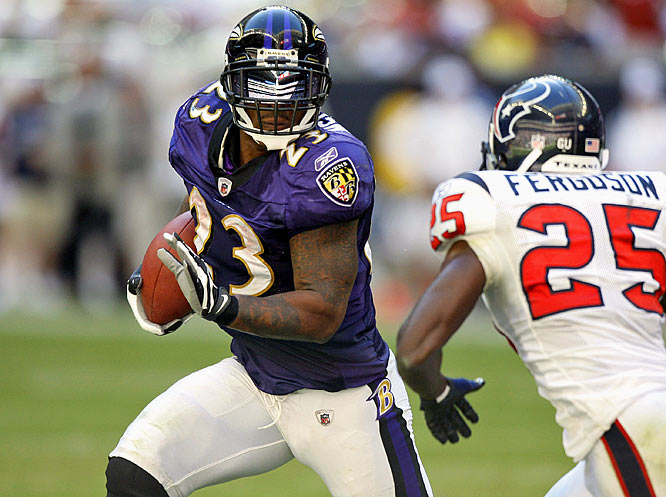 McGahee returned after missing the previous week with an ankle injury. He ran for 112 yards and two touchdowns in the Ravens' 41-13 win over the Texans.