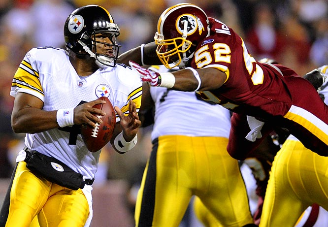 D.C. native Byron Leftwich took over for the injured Ben Roethlisberger Monday night and completed 7-of-10 passes for 129 yards and a touchdown as the Steelers topped the Redskins 23-6.