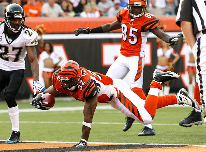 Cedric Benson ran for 104 yards and a touchdown in the Bengals 21-19 win against the Jaguars.  Benson is the first Bengal to rush for over 100 yards this season, with Chris Perry previously running for a team-high 74 yards this season in Week 3.